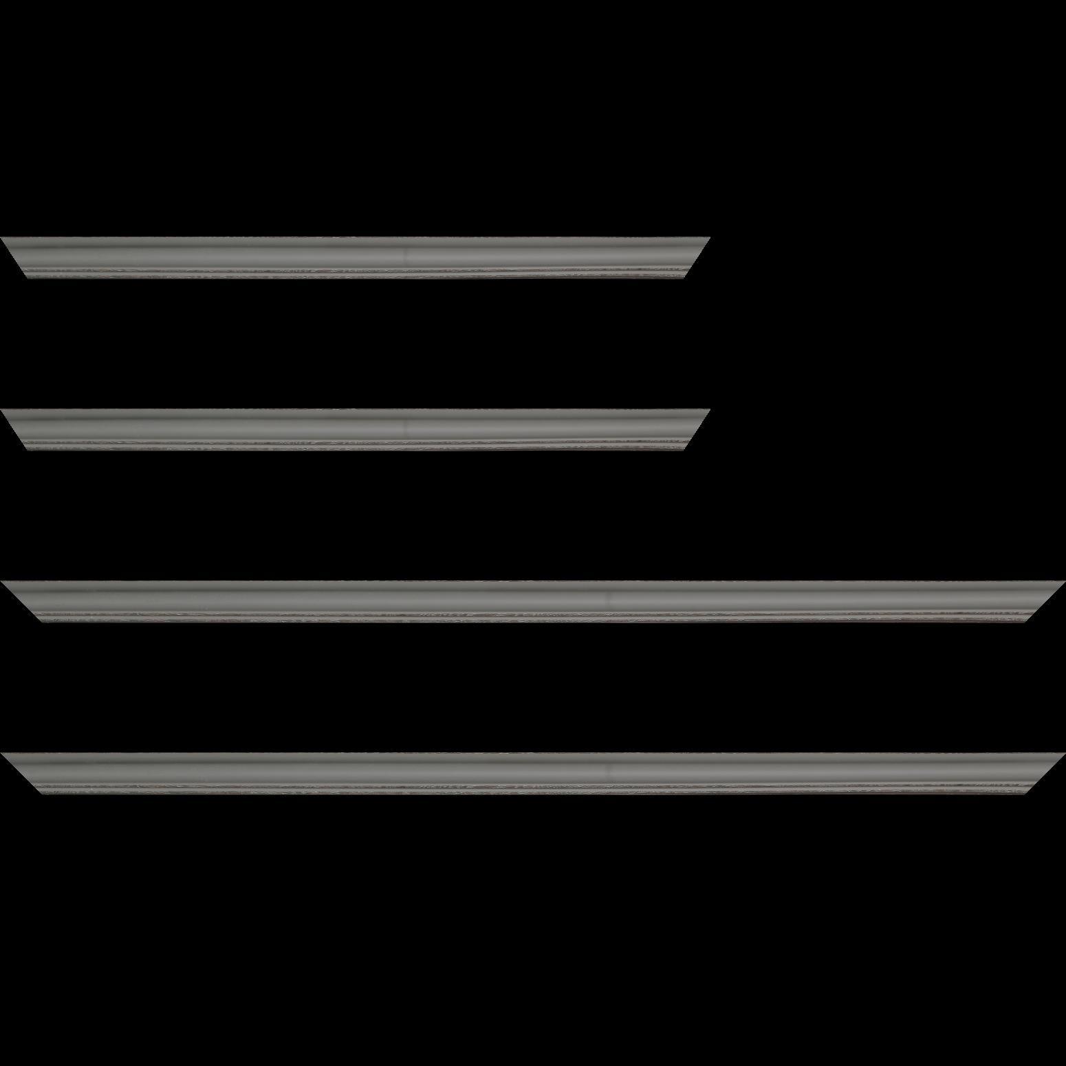 Baguette service précoupé Bois profil doucine inversée largeur 2.3cm gris satiné bord ressuyé