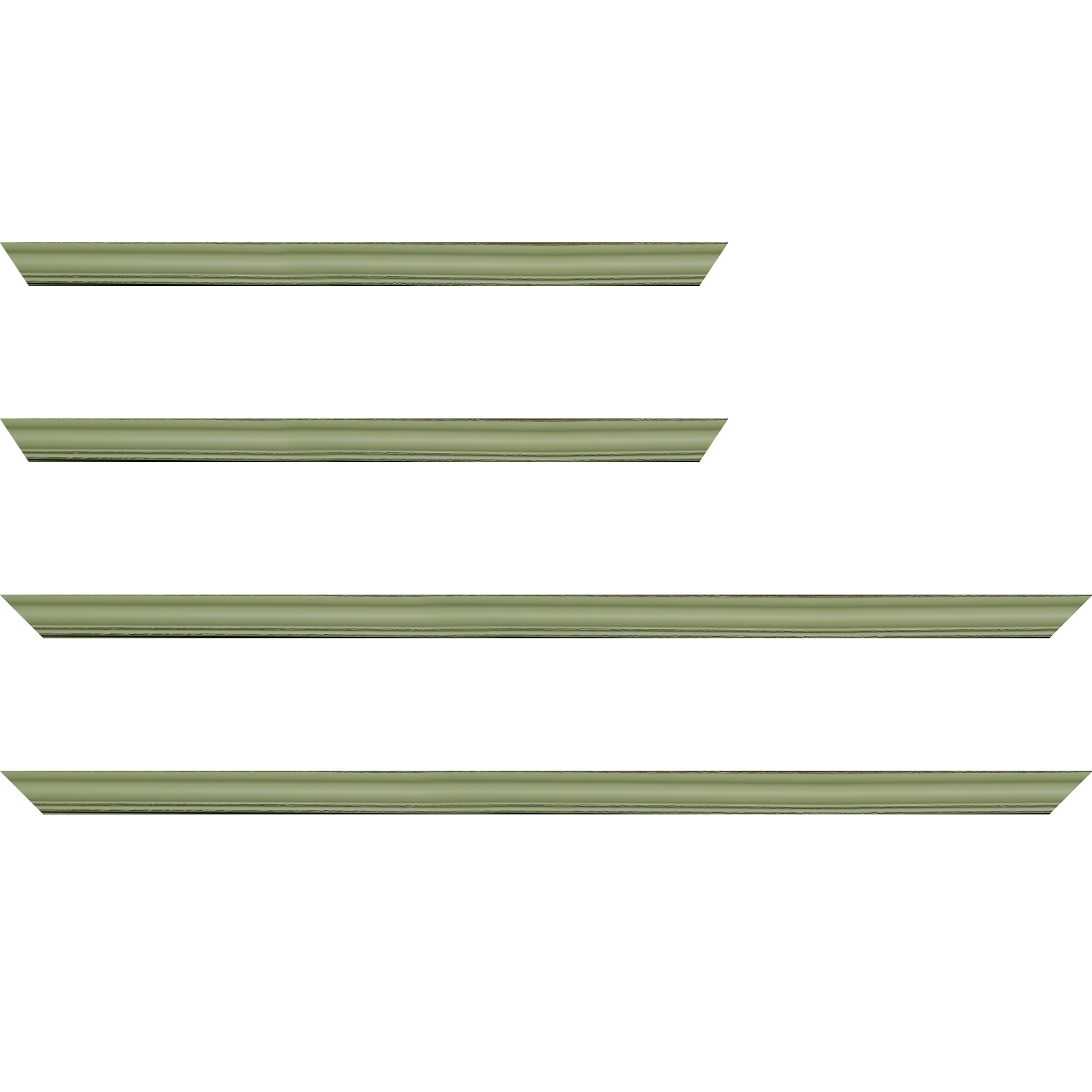 Baguette service précoupé Bois profil doucine inversée largeur 2.3cm vert tilleul satiné bord ressuyé