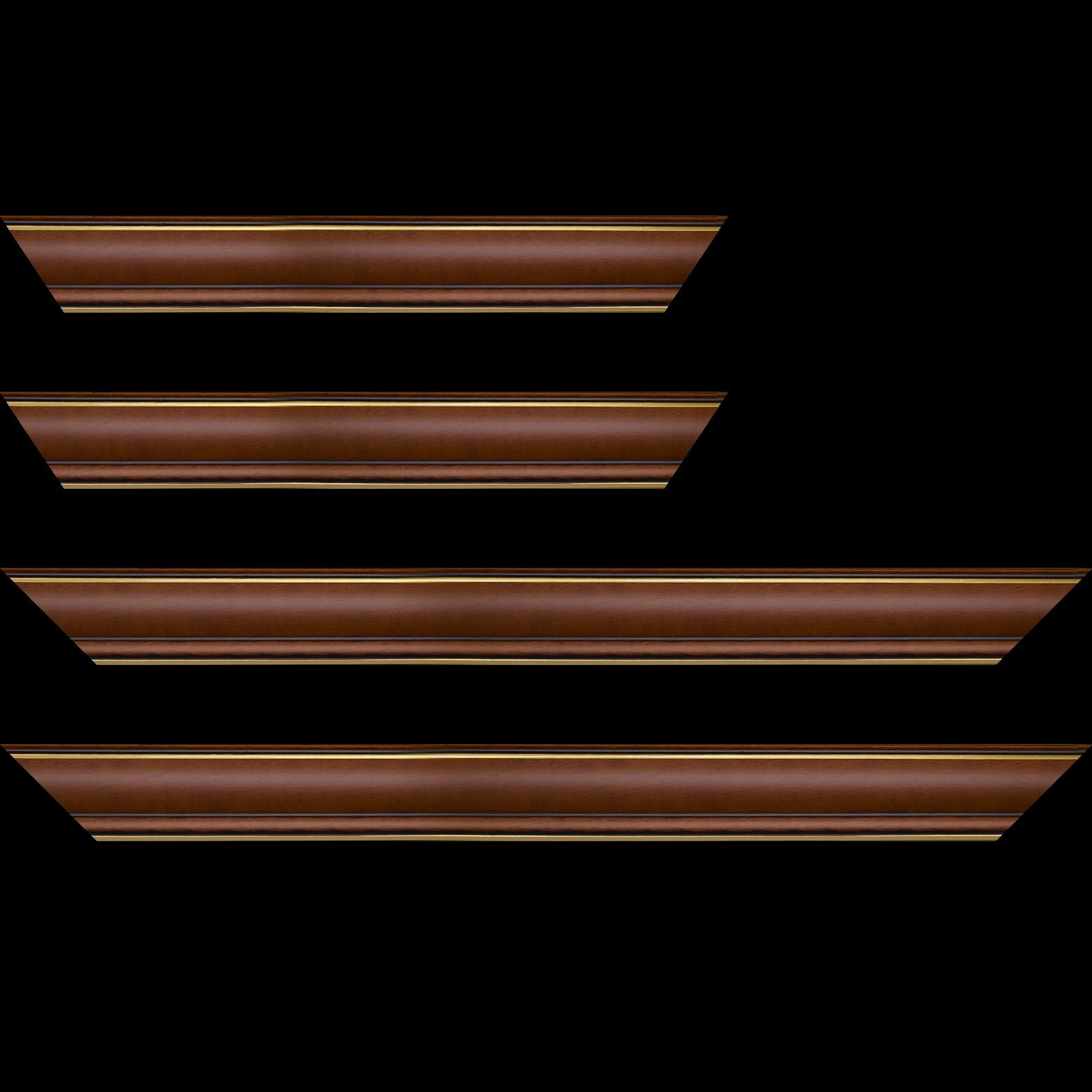 Baguette service précoupé Bois profil doucine inversée largeur 4.4cm  marron rustique filet or