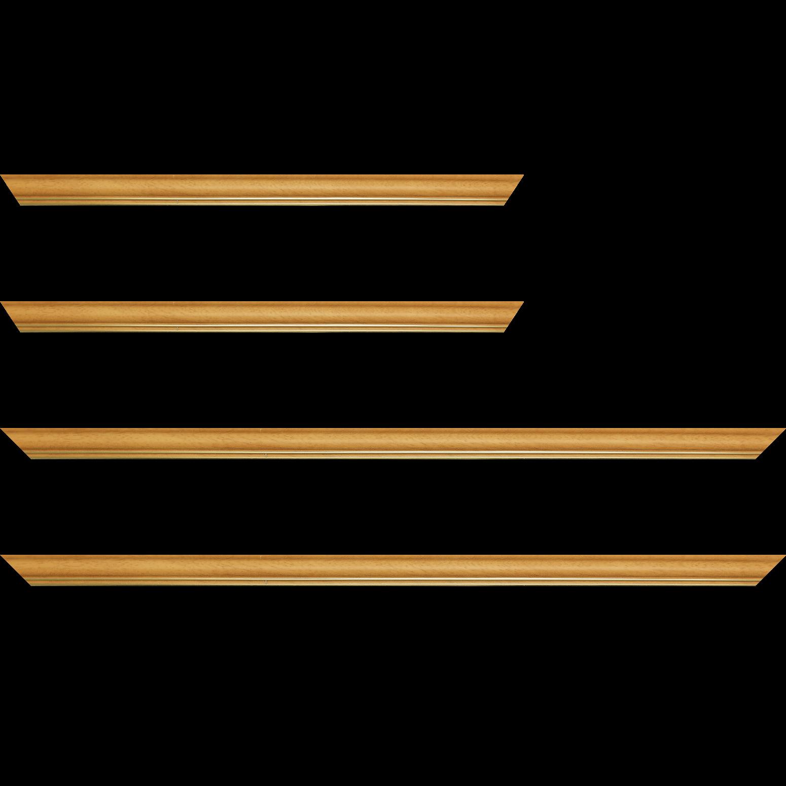 Baguette service précoupé Bois profil doucine inversée largeur 2.3cm jaune tournesol satiné double filet or