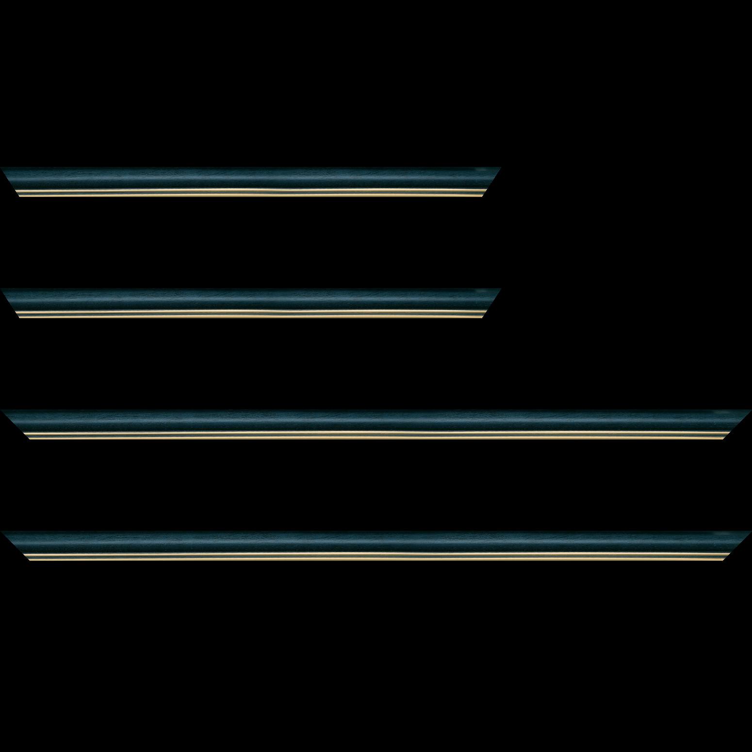 Baguette service précoupé Bois profil doucine inversée largeur 2.3cm bleu pétrole satiné double filet or