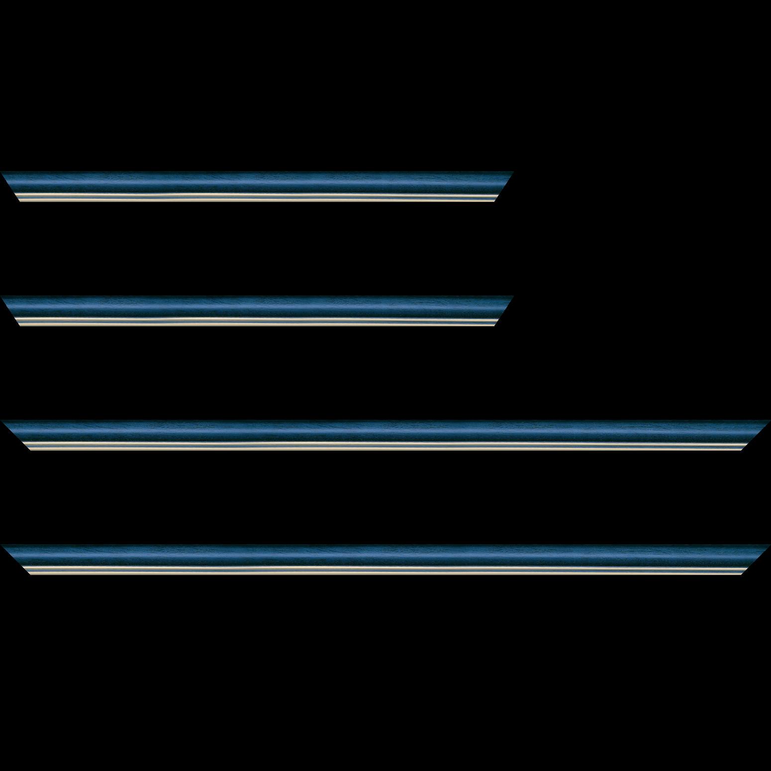 Baguette service précoupé Bois profil doucine inversée largeur 2.3cm bleu tropical satiné double filet or