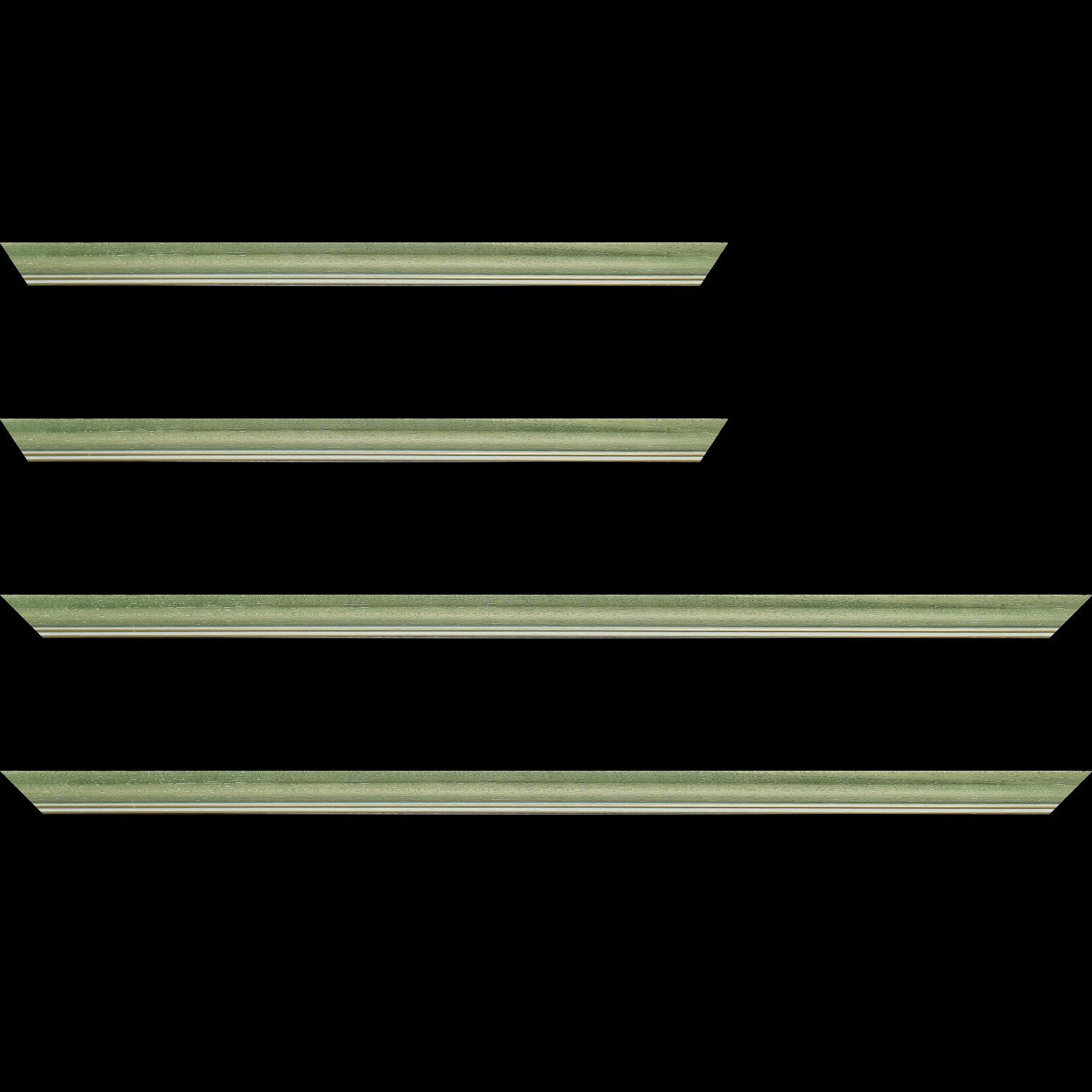 Baguette service précoupé Bois profil doucine inversée largeur 2.3cm vert cérusé double filet or